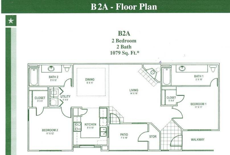 1,079 sq. ft. B2 floor plan