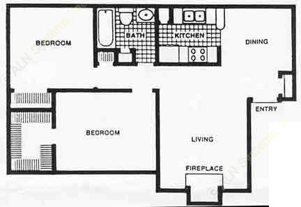 824 sq. ft. 60% floor plan