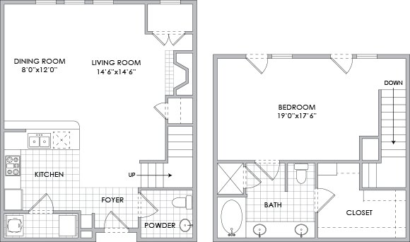 1,109 sq. ft. D1 floor plan