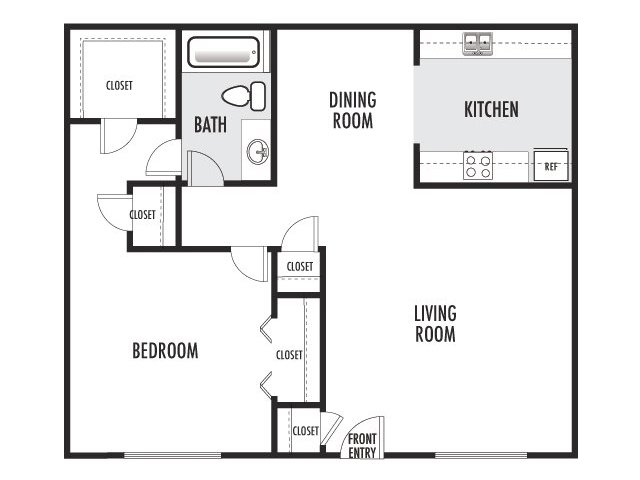 750 sq. ft. C-D floor plan