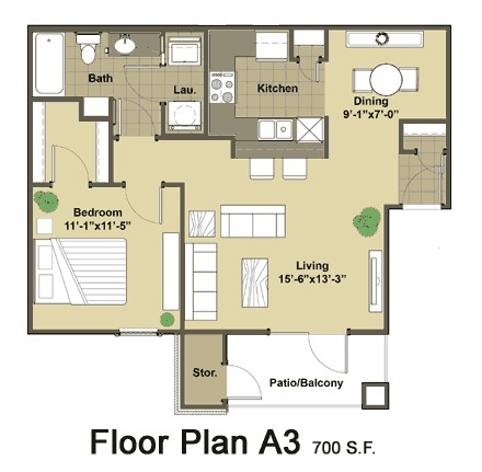 700 sq. ft. Rialto floor plan