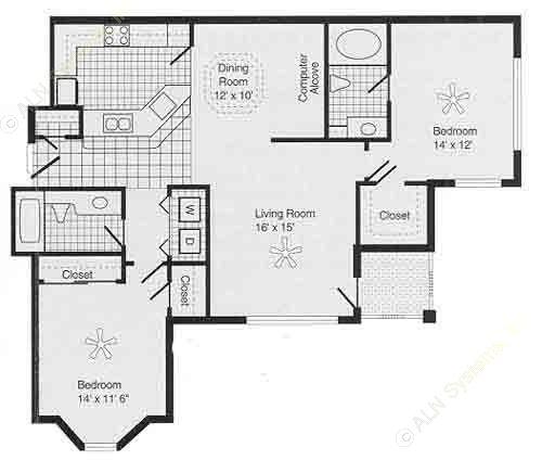 1,084 sq. ft. F PH II floor plan
