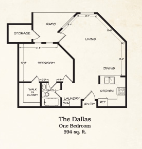 594 sq. ft. Dallas floor plan