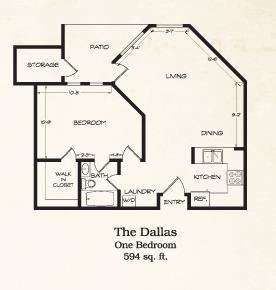 594 sq. ft. Dallas floor plan
