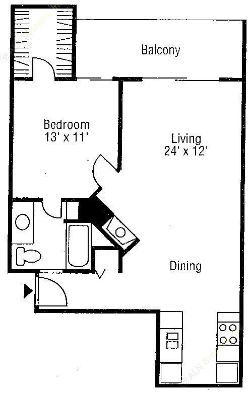 692 sq. ft. A2 floor plan