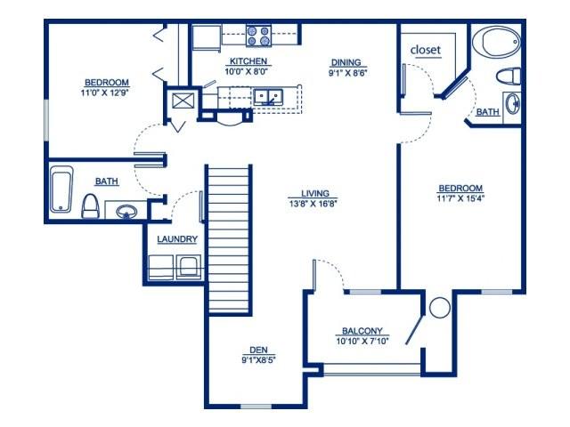 1,234 sq. ft. B2DG floor plan