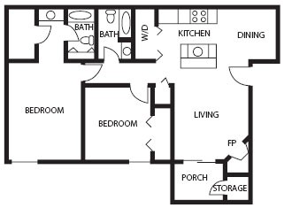 977 sq. ft. Emerald floor plan