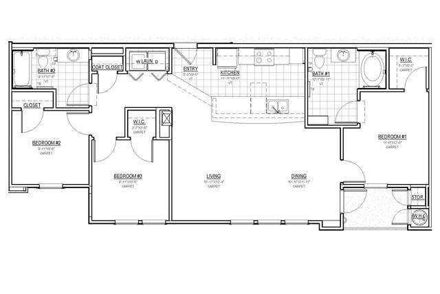 1,164 sq. ft. C1/30% floor plan