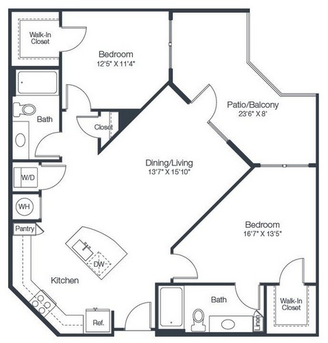 1,085 sq. ft. B2A floor plan