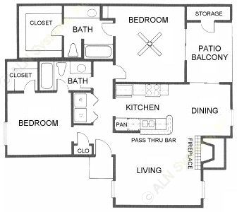 1,029 sq. ft. B4 floor plan