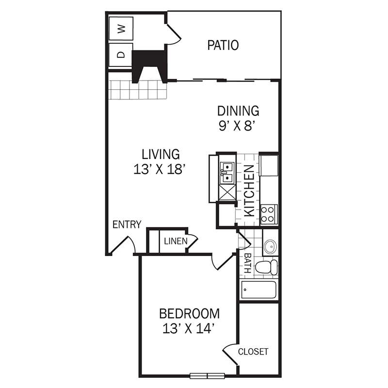 821 sq. ft. A4 floor plan