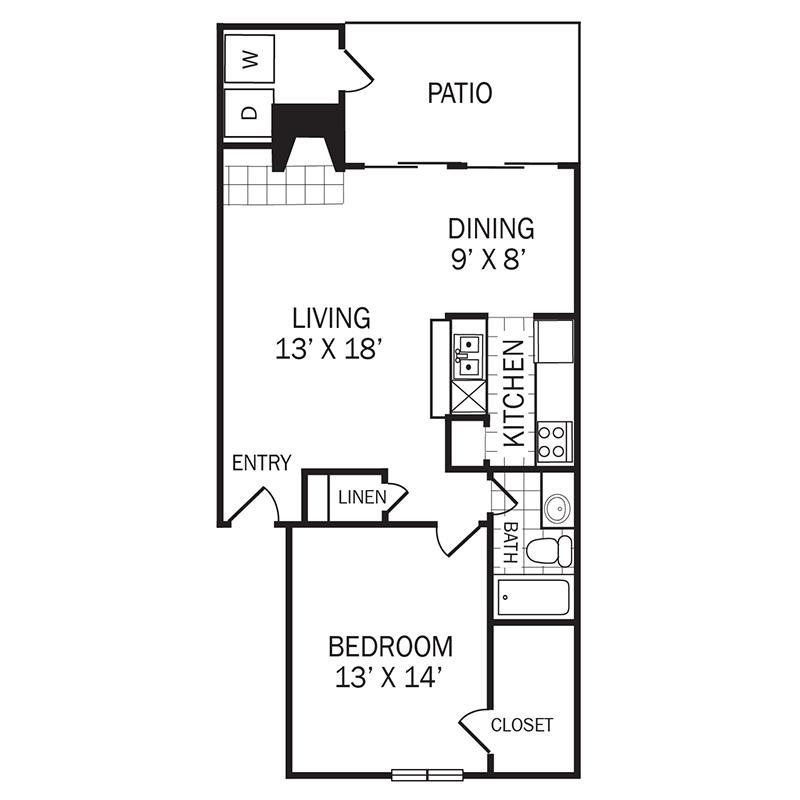 821 sq. ft. A4 floor plan
