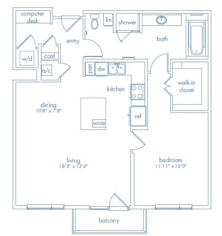 1,006 sq. ft. Chagall One floor plan