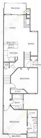 1,136 sq. ft. Durango floor plan