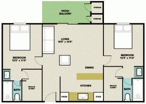 860 sq. ft. 2A2 floor plan