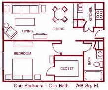 768 sq. ft. F floor plan