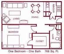 768 sq. ft. F floor plan