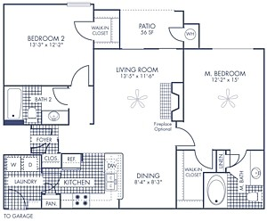 1,155 sq. ft. B5 floor plan