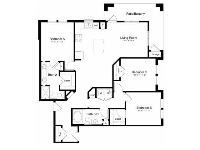 1,409 sq. ft. C1G floor plan
