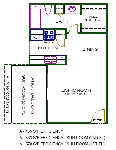 455 sq. ft. AJ1 floor plan