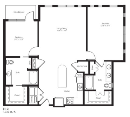 1,352 sq. ft. B1G floor plan