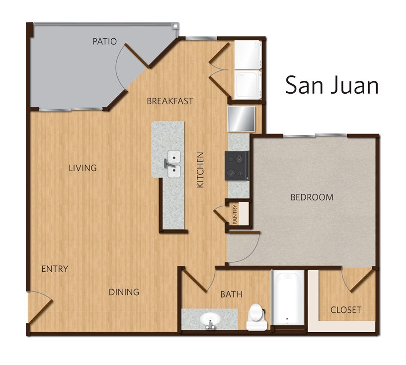 776 sq. ft. San Juan A2 floor plan