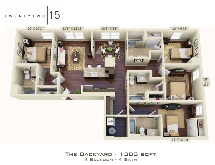 1,383 sq. ft. BACKYARD floor plan