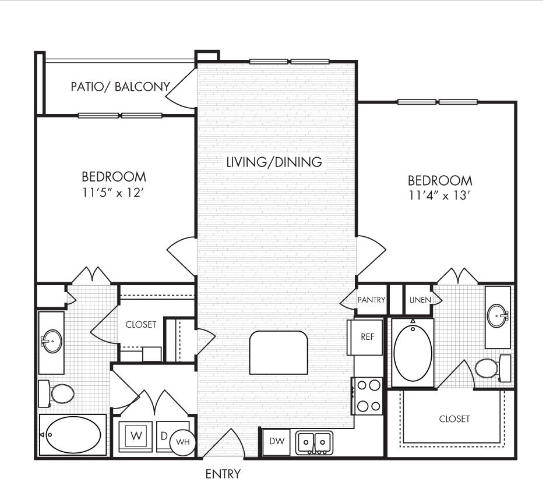 881 sq. ft. to 1,113 sq. ft. B2 floor plan