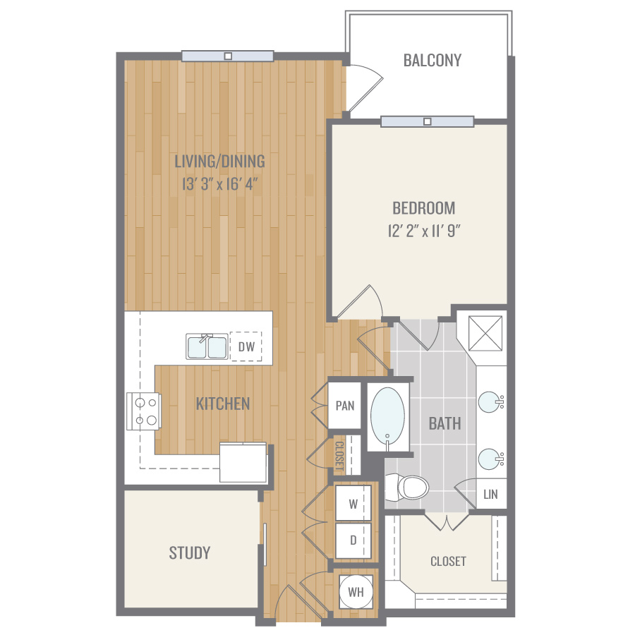 927 sq. ft. A6 floor plan