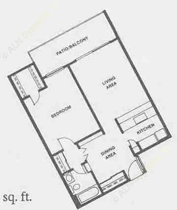 655 sq. ft. A9 floor plan