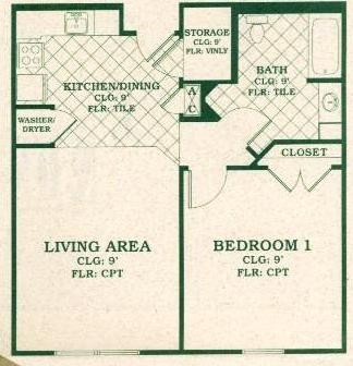 668 sq. ft. 60% floor plan