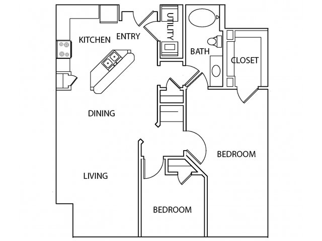 1,088 sq. ft. B1-1 floor plan