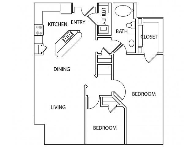 1,088 sq. ft. Village floor plan