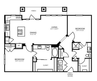 1,199 sq. ft. B6H floor plan