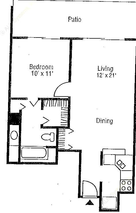 654 sq. ft. Chardonnay floor plan