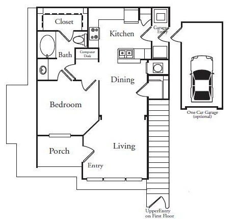 788 sq. ft. A1U floor plan