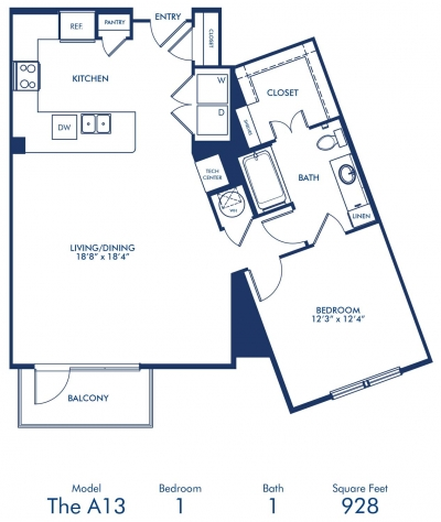 928 sq. ft. A13 floor plan