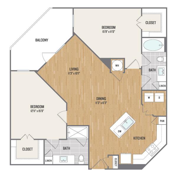 1,155 sq. ft. B2 floor plan