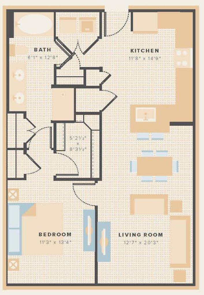 840 sq. ft. A15 floor plan