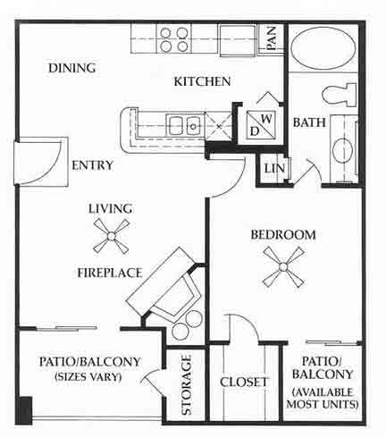 621 sq. ft. A1 floor plan