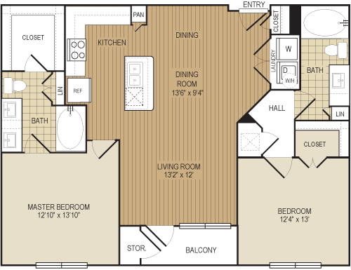 1,138 sq. ft. B2a floor plan