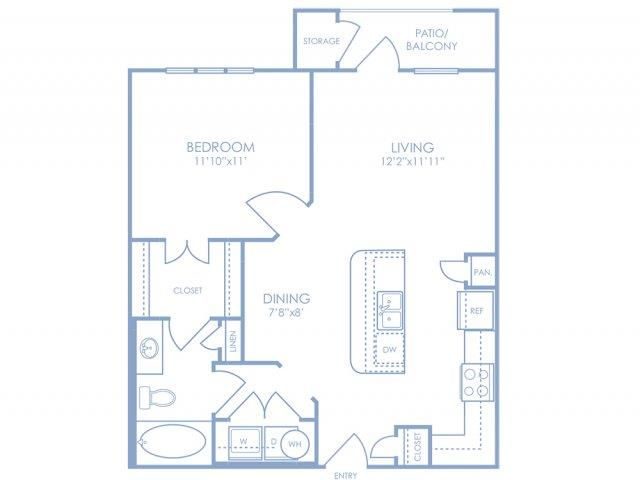 675 sq. ft. A1 floor plan
