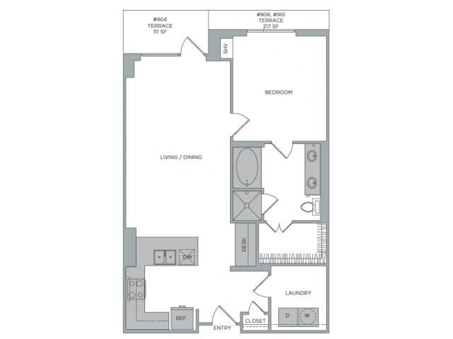 1,038 sq. ft. 1R floor plan