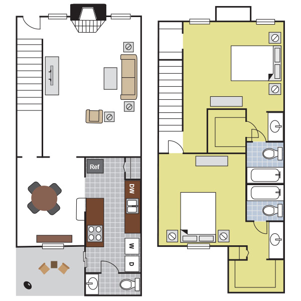 1,285 sq. ft. B3 floor plan