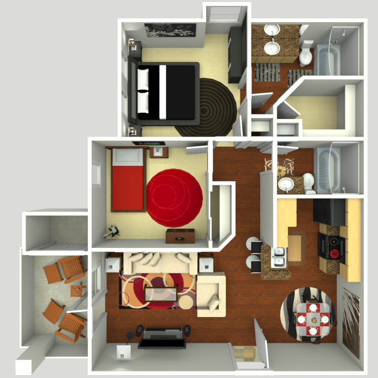 973 sq. ft. B2-E floor plan