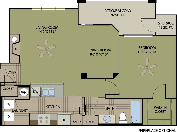 793 sq. ft. Merlot floor plan
