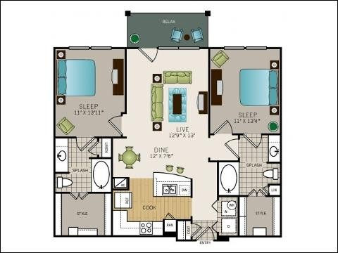 1,084 sq. ft. Van Buren floor plan