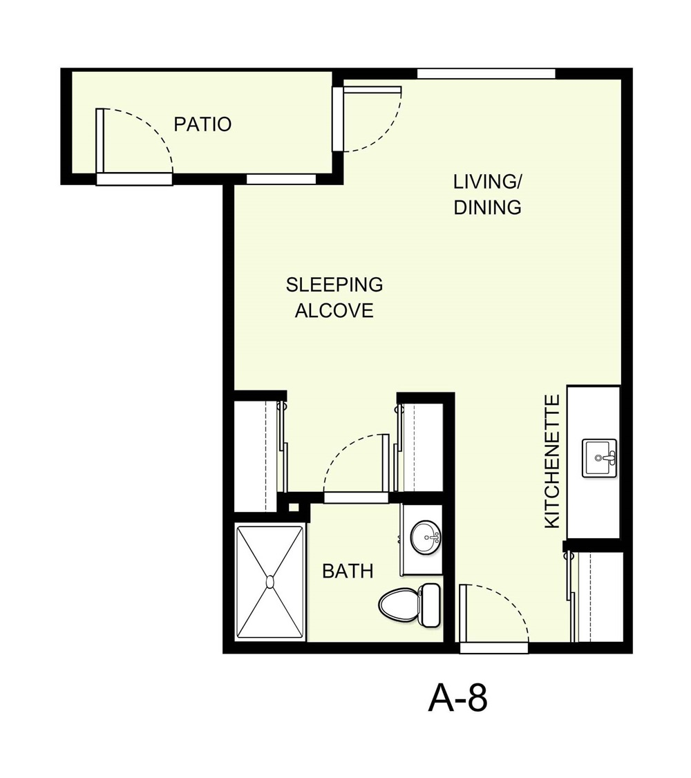 405 sq. ft. A8 floor plan