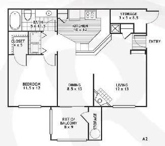 759 sq. ft. A2/SAN ANTONIO floor plan