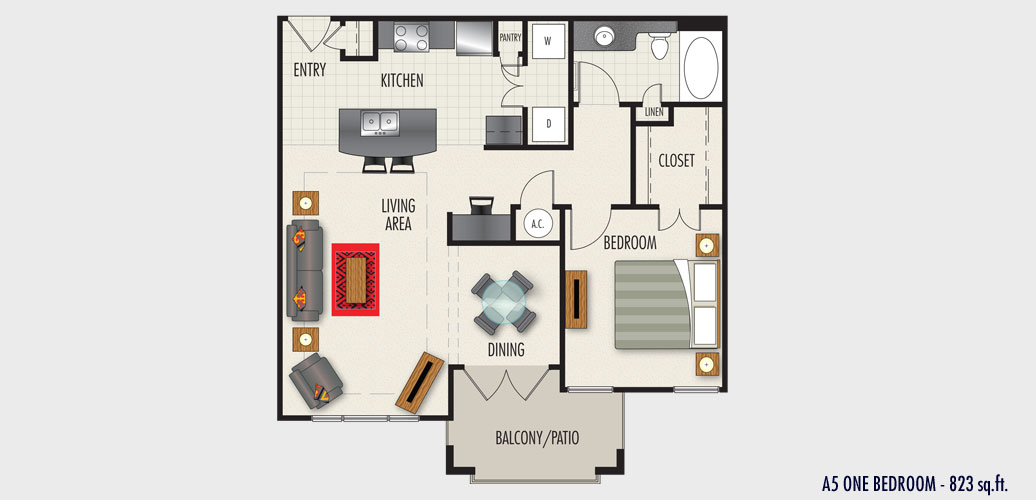 823 sq. ft. to 909 sq. ft. A5 floor plan